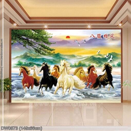 DW0573 Tranh chữ thập thêu kín Bát tuấn hùng phong khổ trung bình