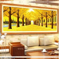 FJ0011 Tranh thêu chữ thập Rừng cây lá vàng kích thước trung bình