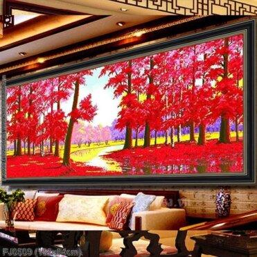 FJ0509 Tranh chữ thập thêu kín Rừng lá đỏ khổ lớn