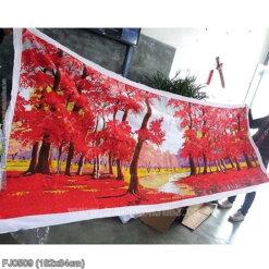 FJ0509 Tranh Rừng lá đỏ thêu kín kích thước lớn