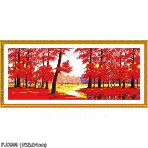 FJ0509 Tranh thêu chữ thập Rừng lá đỏ kích thước lớn 182x84cm