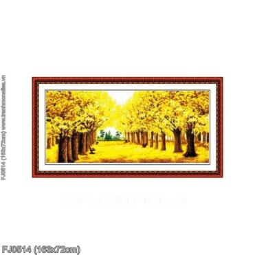 FJ0514 Tranh thêu chữ thập Rừng cây lá vàng kích thước lớn