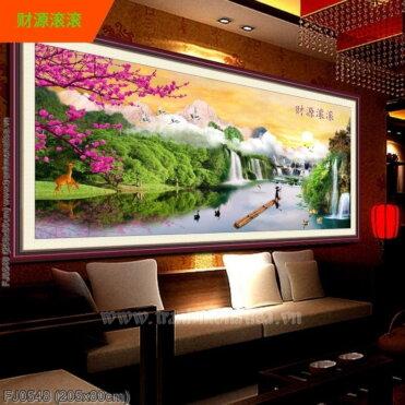 FJ0548 Tranh chữ thập thêu kín Lưu thủy sinh tài khổ siêu lớn