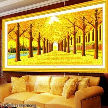 FJ0558 Tranh thêu chữ thập Rừng cây lá vàng kích thước lớn