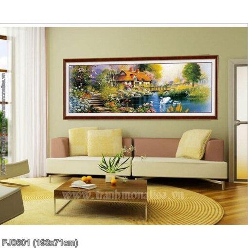 FJ0601 Tranh chữ thập thêu kín Ngôi nhà bên sông thơ khổ lớn