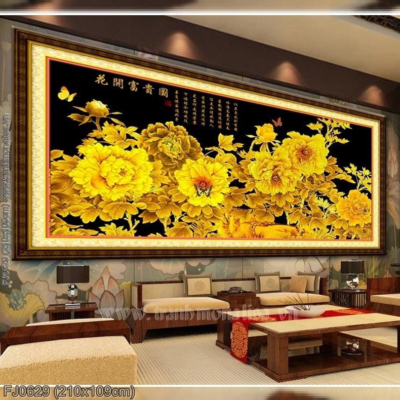 FJ0629 Tranh chữ thập thêu kín Hoa khai phú quý đồ khổ siêu lớn