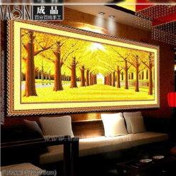 FJ0659 Tranh thêu chữ thập Rừng cây lá vàng kích thước lớn
