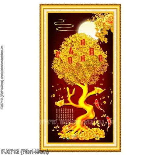 FJ0712 Tranh thêu chữ thập Cây tiền vàng tài lộc kích thước trung bình 79x149cm