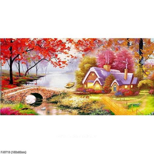 FJ0713 Tranh chữ thập thêu kín Ngôi nhà nhỏ trên thảo nguyên khổ lớn