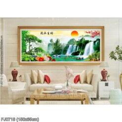 FJ0718 Tranh chữ thập thêu kín Lưu thủy sinh tài khổ trung bình