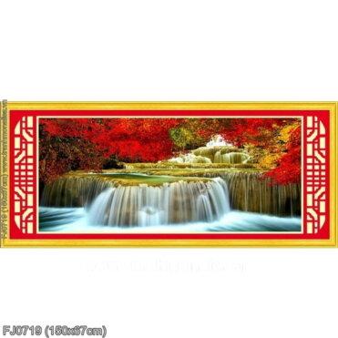 FJ0719 Tranh chữ thập thêu kín Lưu thủy sinh tài khổ trung bình
