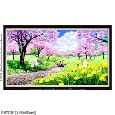 FJ0727 Tranh Mùa xuân về thêu kín kích thước trung bình