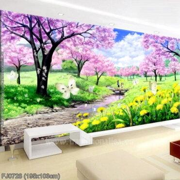 FJ0728 Tranh Mùa xuân tươi đẹp thêu kín kích thước lớn