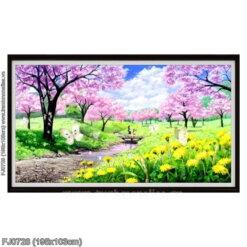 FJ0728 Tranh thêu chữ thập Mùa xuân tươi đẹp kích thước lớn 195x103cm