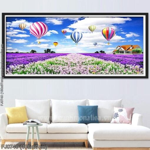 FJ0740 Tranh Cánh đồng hoa Lavender (oải hương) thêu kín kích thước trung bình