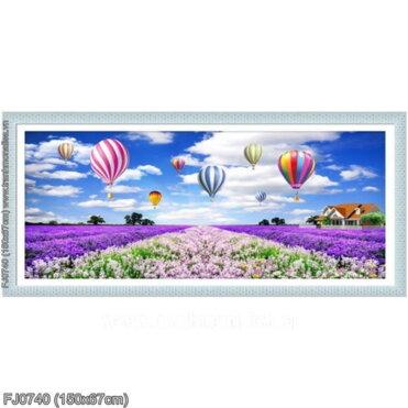 FJ0740 Tranh chữ thập thêu kín Cánh đồng hoa Lavender (oải hương) khổ trung bình
