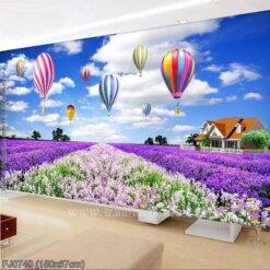 FJ0740 Tranh thêu chữ thập Cánh đồng hoa Lavender (oải hương) kích thước trung bình 150x67cm