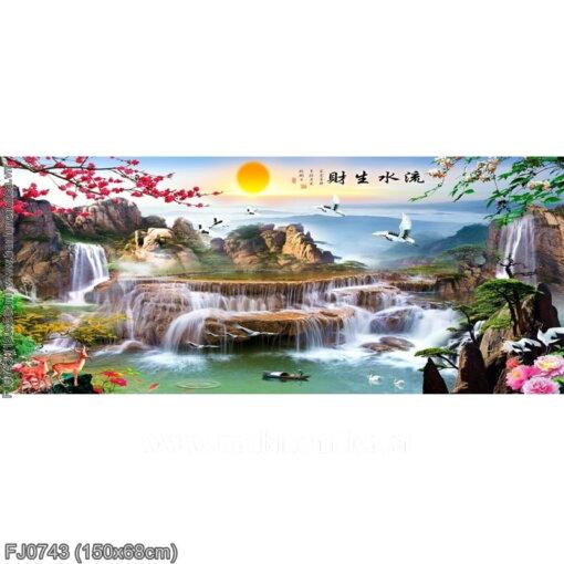 FJ0743 Tranh chữ thập thêu kín Lưu thủy sinh tài khổ trung bình