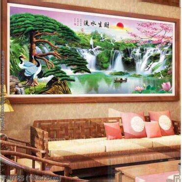 FJ0745 Tranh chữ thập thêu kín Lưu thủy sinh tài khổ trung bình
