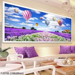 FJ0753 Tranh Cánh đồng hoa Lavender (oải hương) thêu kín kích thước lớn