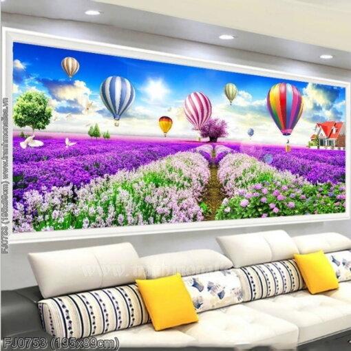 FJ0753 Tranh chữ thập thêu kín Cánh đồng hoa Lavender (oải hương) khổ lớn