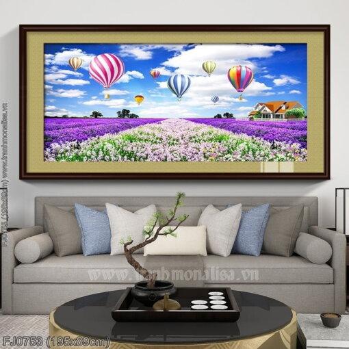 FJ0753 Tranh thêu chữ thập Cánh đồng hoa Lavender (oải hương) kích thước lớn 195x89cm