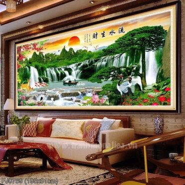 FJ0769 Tranh Lưu thủy sinh tài thêu kín kích thước lớn
