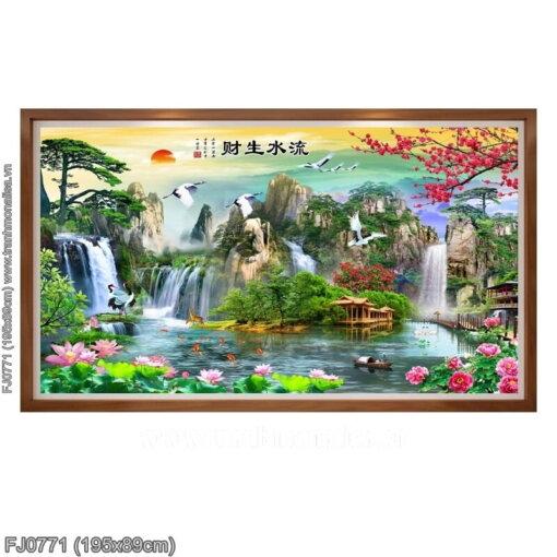 FJ0771 Tranh chữ thập thêu kín Lưu thủy sinh tài khổ lớn