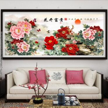 FJ0774 Tranh chữ thập thêu kín Hoa khai phú quý khổ trung bình