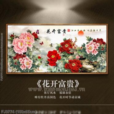 FJ0774 Tranh Hoa khai phú quý thêu kín kích thước trung bình