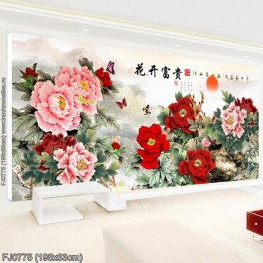 FJ0775 Tranh chữ thập thêu kín Hoa khai phú quý khổ lớn