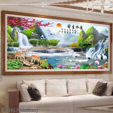 FJ0776 Tranh chữ thập thêu kín Lưu thủy sinh tài khổ trung bình