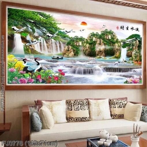 FJ0778 Tranh chữ thập thêu kín Lưu thủy sinh tài khổ trung bình