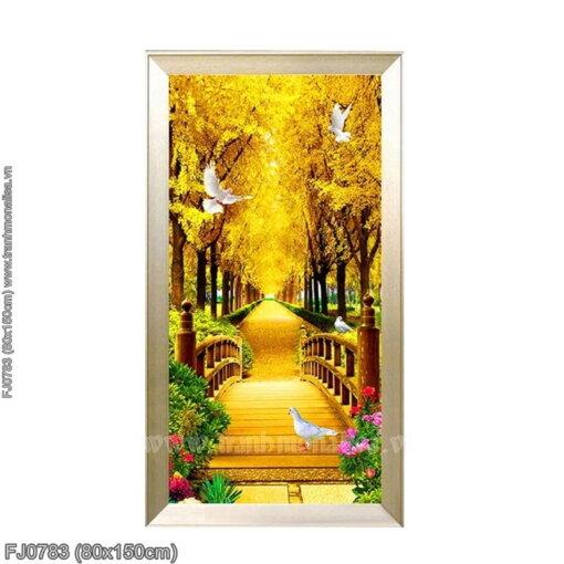 FJ0783 Tranh thêu chữ thập Rừng cây lá vàng kích thước lớn