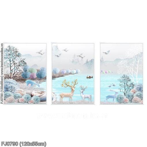FJ0790 Tranh chữ thập thêu kín Hươu tuyết (3 bức) khổ trung bình