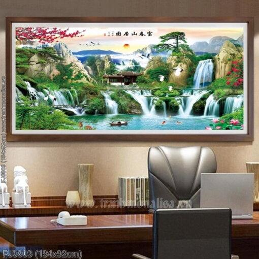 FJ0803 Tranh thêu chữ thập Phú Xuân sơn cư đồ kích thước lớn 194x92cm