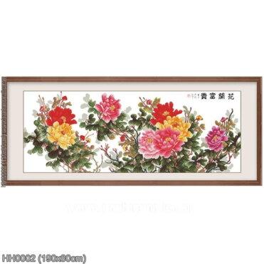 HH0002 Tranh chữ thập thêu kín Hoa khai phú quý khổ lớn