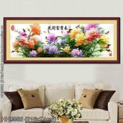 HH0562 Tranh chữ thập thêu kín Hoa khai phú quý đồ khổ siêu lớn