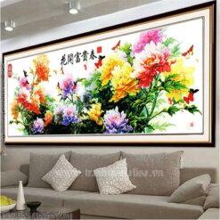 HH0565 Tranh chữ thập thêu kín Hoa khai phú quý đồ khổ lớn