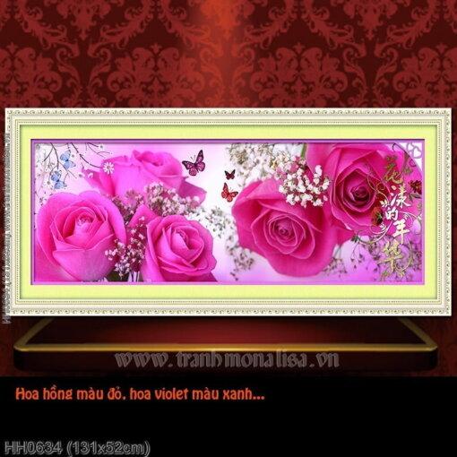 HH0634 Tranh thêu chữ thập Hương sắc tình yêu kích thước trung bình 131x52cm
