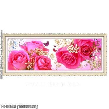 HH0643 Tranh thêu chữ thập Hoa Hồng nhung kích thước trung bình