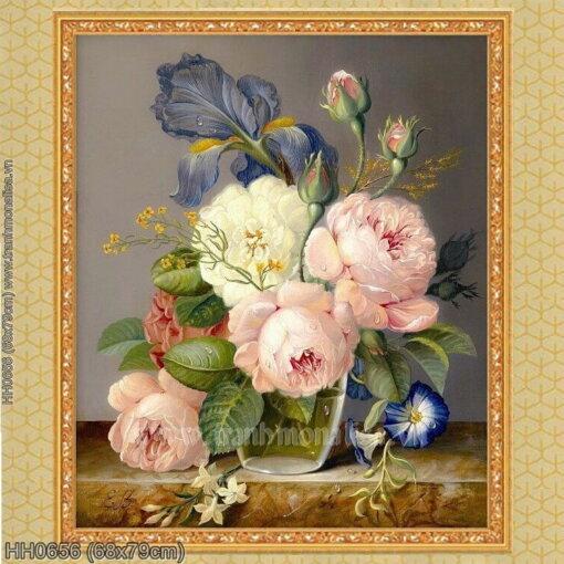 HH0656 Tranh thêu chữ thập Tĩnh vật hoa hồng kích thước nhỏ 68x79cm
