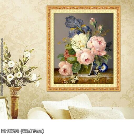 HH0656 Tranh Tĩnh vật hoa hồng thêu kín kích thước nhỏ