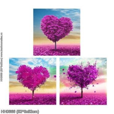 HH0666 Tranh chữ thập thêu kín Trái tim chung thủy (3 bức) khổ trung bình