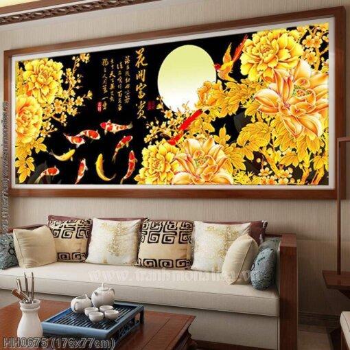 HH0675 Tranh chữ thập thêu kín Hoa khai phú quý khổ lớn