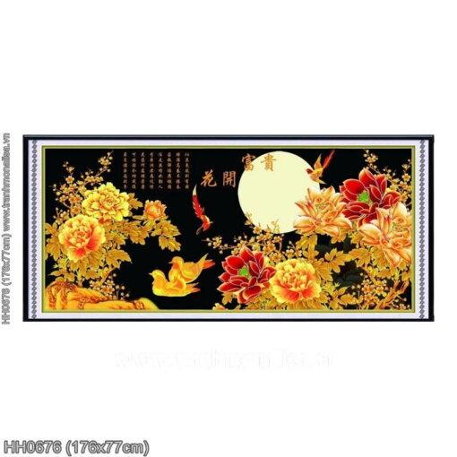 HH0676 Tranh chữ thập thêu kín Hoa khai phú quý khổ lớn