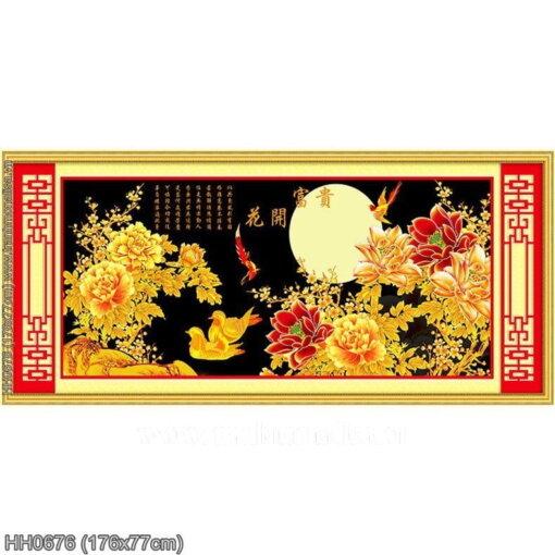 HH0676 Tranh thêu chữ thập Hoa khai phú quý kích thước lớn 176x77cm