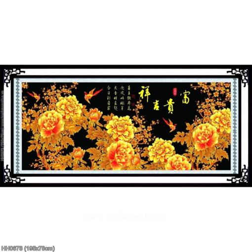 HH0678 Tranh thêu chữ thập Phú quý Cát tường kích thước lớn 195x78cm