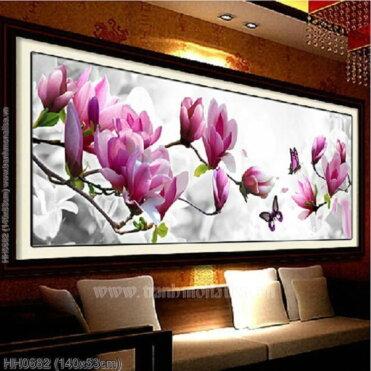HH0682 Tranh thêu chữ thập Bướm vờn hoa kích thước trung bình