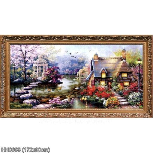 HH0683 Tranh Ngôi nhà hạnh phúc thêu kín kích thước lớn